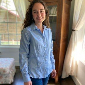 Ellen Tracy Blue Button Down Shirt, Size S